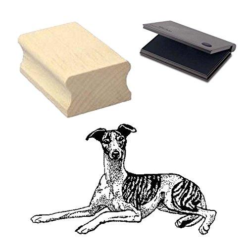 « WHIPPET » Motivstempel mit Kissen Scrapbooking - Embossing - Basteln - Hund -