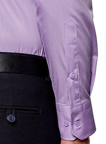 oodji Ultra Herren Langarm-Hemd Basic Violett (8000N)
