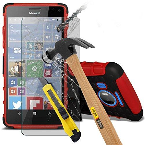 Étui pour Microsoft Lumia 950 Titulaire de téléphone Case voiture universel Mont Cradle Dashboard & pare-brise pour iPhone yi -Tronixs Shock proof +Glass (Red)