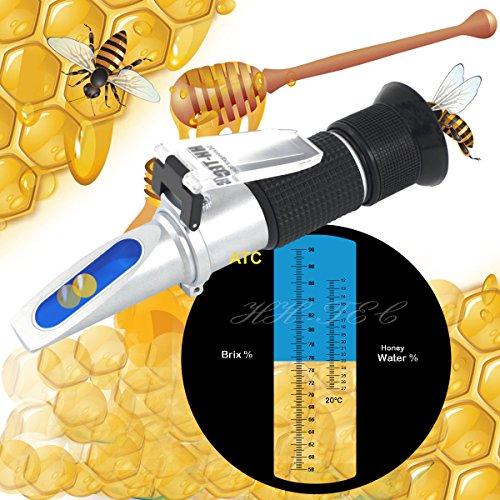 HH-TEC Imker Refraktometer Honig 58-90% Brix 12-27% Wasser Feucht Handrefraktometer für Imker Honig Pflanzenölen Zuckersirup Fruchtmarmelade Melasse mit Bedienungsanleitung in Deutsch