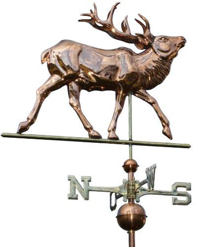 Große Linneborn Kupfer Wetterfahne, Motiv: Hirsch, Gesamthöhe: 108 cm, Elch, Wetterhahn