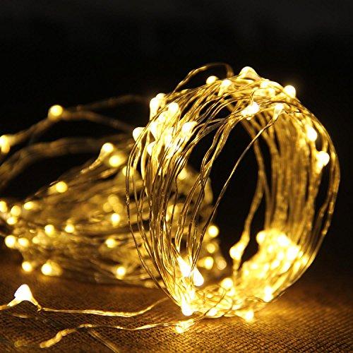 Telckabel 10M Kupferdraht Lichterkette mit 100er LEDs IP67 Wasserdichte Lichterkette mit Batteriebetrieb, für Innen und Außen (Warmweiß) (Halloween Fenster Leuchtet)