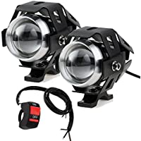PROZOR Motorcycle Headlights with Switch Motorcycle Front Spotlights 2 Piece 125W 3000LM CREE U5 LED Motorcycle Fog Lights with Universal 3-Button Switch