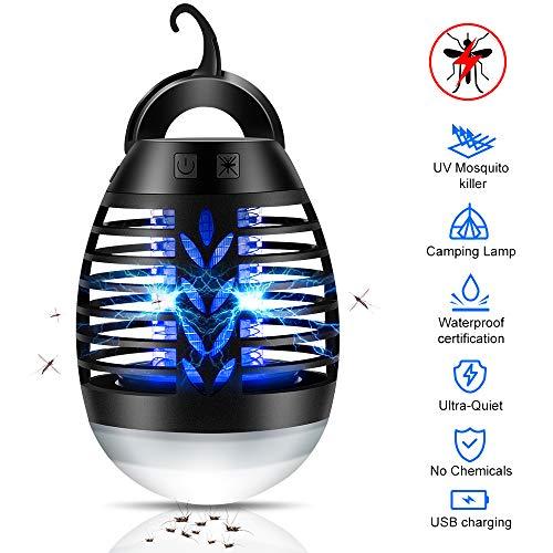 Bug Zapper Light, Lampe de camping anti-moustiques, Piège à insectes UV sans produits chimiques, sûr, mouche Zapper, imperméable pour le camping extérieur en intérieur avec crochet rétractable