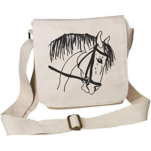 Azeeda \'Pferd mit Zaumzeug\' kleine Baumwolle Umhängetasche (MS00008736)