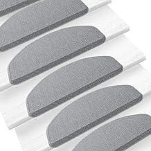 Casa pura alfombra escalera alfombrillas, Londres de escalera, color gris–15piezas Conjunto   varios tamaños y colores, Gris