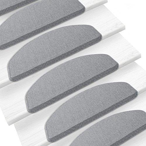 Casa pura - alfombra para peldaños de escalera, modelo London, para 15 escalones, gris