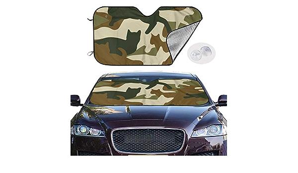 Parasole per Auto Camouflage Gatti Parabrezza Anteriore Parasole per Camion Auto SUV Mantieni Fresco Il Tuo Veicolo 51x27.5 Pollici