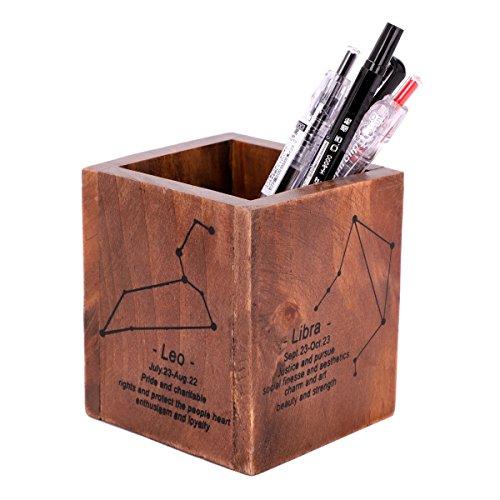 Creative portapenne in legno massiccio pen cup square constellation painting pen case multifunzione brush pot contenitore organizzatore da scrivania per ufficio cancelleria cosmetici supporto display