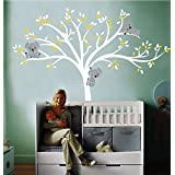 grande y blanco con hojas blancas y amarillas y tres koalas,Vinilo adhesivo de pared, Adhesivo mural para habitación infantil
