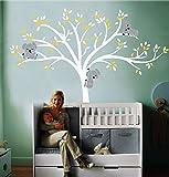 LUCKKYY - Adesivo da parete in vinile per cameretta di bambino, misura grande, soggetto: albero bianco con foglie bianche e gialle e tre graziosi koala, giallo, EXPSFD009948