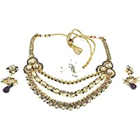 Mogul Innen ethnischen indischen Frauen Bollywood Schmuck Set Antik Gold Fashion Halskette Ohrring Sets Schwarz