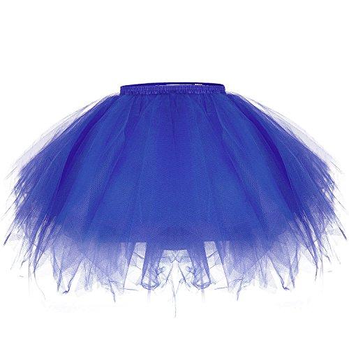 ZeWoo Damen Tutu Unterkleid Kurz Blase Ballett Tanzkleid Ballklei Abendkleid Zubehör (Blau)