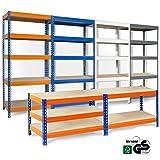 Rayonnage-Office-Marshal-pour-stockage-systme-denfichage-profondeur-45cm-capacit-de-charge-totale-875kg-tailles-et-couleurs-aux-choix-bleu-orange-220x90x45cm