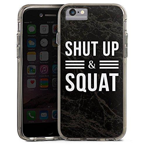 Apple iPhone 7 Bumper Hülle Bumper Case Glitzer Hülle Squat Fitness Statements Bumper Case transparent grau