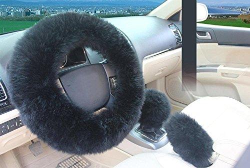 Aolvo coprivolante protettivo per auto, al 100% in pura lana australiana naturale di pecora, lussuoso, morbido, antiscivolo, caldo, adatto all'inverno, per donne e ragazze, 1set con 3pezzi nero