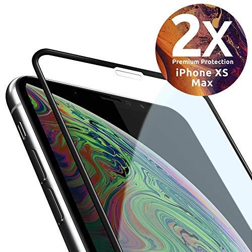 [2 Stück] 3D 9H Panzerglas kompatibel mit iPhone XS MAX - volle Abdeckung - Installations