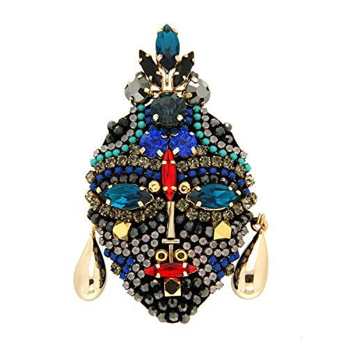 Sweet Deluxe Brosche Mask, Gold/Multi I ausgefallene Blusenbrosche für Damen & Mädchen I Frauen-Brosche für Abendkleid & Bluse I Anstecknadel