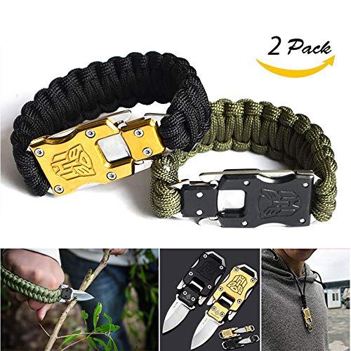 bracciale paracord,bracciale uomo,Coltello in acciaio inossidabile autodifesa, la corda del paracadute può essere lavorata a seconda delle dimensioni del tuo polso.2 Confezione
