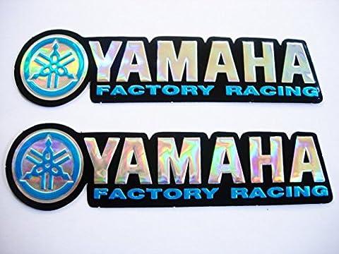 3D blue / chrome YAMAHA stickers decals - set of 2 pieces