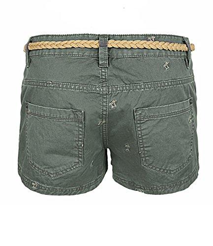 Eight2Nine Damen Hot Pant Short by SBL mit Palm Stick und Flechtgürtel soft washed Oliv