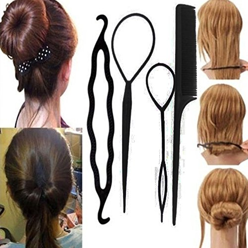 Damen-4Stück Haar Twist Styling Clip Stick Bun Maker Braid Tool Haar Zubehör
