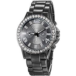 XLORDX Geneva Designer Datum Strass Damenuhr Schwarz Uhr Chronograph Optik Strassuhr
