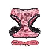 FANQIECHAODAN Mesh Harness Verstellbare Weste Harness mit Griff Weiche Mesh-Weste Hundeleine Brustgurt für kleine mittelgroße Hunde (Farbe : Rosa, größe : S)