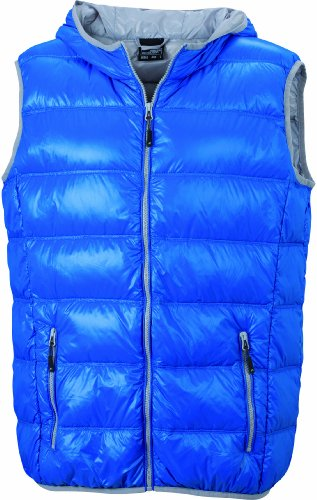 James & Nicholson Herren Jacke Daunenweste Men's Down Vest blau (blue/silver) Medium