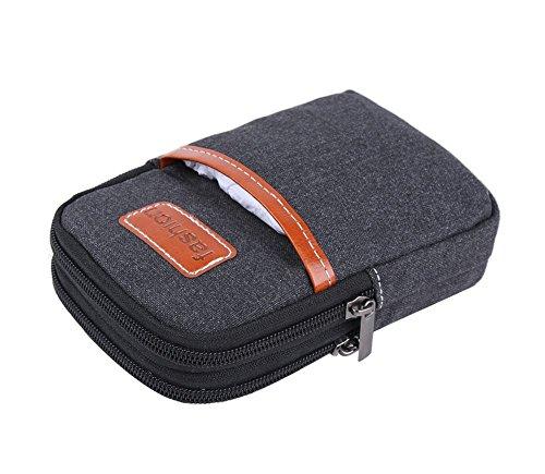 Genda 2Archer Cellulare Piccolo Tempo libero della tela di canapa del pacchetto della vita mini tracolla Borsa Messenger Nero