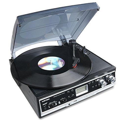 musit-rend-Belt-Drive-3-Speed-Giradischi-con-LCD-Display-Supporta-USBSD-codifica-in-MP3-Cassetta-e-MP3WMAregistratore-radio-AMFM-AUX-IN-e-uscita-RCA-Presa-per-cuffie