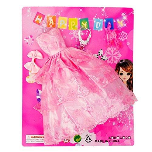 Wudi Barbie Doll Dress Outfits mit Kleidung mit Ohrringe, Frisur, Mode-Accessoires Kleid Brautschuhe für Mädchen Geburtstags-Geschenk (Rosa)