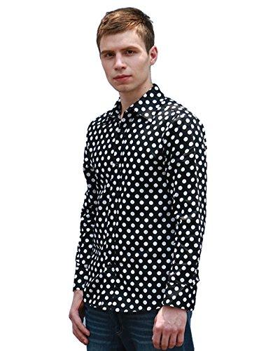 Allegra K Allegra K Männer gepunktetes schwarz Oberhemd Knopfhemd regular fit Schwarz