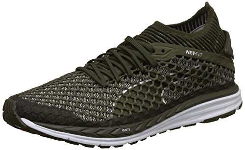 7. Puma Men's Speed Ignite Netfit Olive Night White Running Shoes