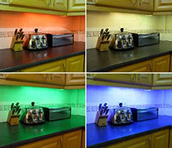 COLOUR CHANGING LED KITCHEN / UNDER CABINET LIGHTING SET (INCLUDES 2 x 50CM LED STRIPS, WIRELESS CONTROLLER & SUPPLY) ** FANTASTIC LED LIGHTING PACKAGE - IDEAL FOR TRANSFORMING KITCHENS, PLINTH LIGHTS, UNDER CABINETS **