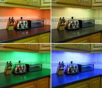 Colour changing led kitchen under cabinet lighting set includes 2 colour changing led kitchen under cabinet lighting set includes 2 x 50cm led strips aloadofball Images