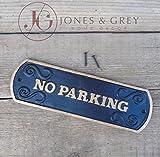 No Parking-estilo vintage Negro y dorado de hierro fundido de pared/puerta señal