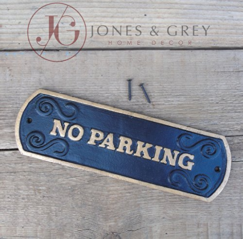 Antik-gold-eintrag (Jones & Grey No Parking - Vintage Style Black & Gold Gusseisen Wand/Tor Schild)