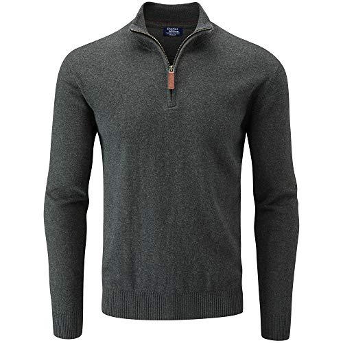 Charles Wilson Herren Basics Pullover mit Reißverschluss aus Baumwollmischung (Large, Dark Grey)