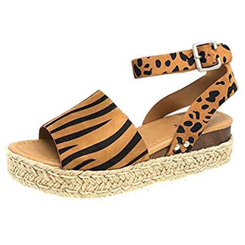 Damen Sandalen, ODRD Frauen Schuhe Shoes Wedges Leopard Sole Roma Knöchelriemen Open Toe Sandalen Schnalle Schuhe Beach Hausschuhe Clogs Sandalen Slipper Pumps Damen Zehentrenner Sport