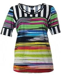 dbfd8db7c8613f Sempre piu Shirt Kurz für Kleine Damen mit Große Größen in Grün Bunt Gitter- Ausschnitt