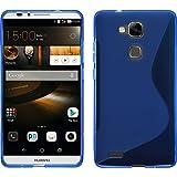 PhoneNatic Coque en Silicone pour Huawei Ascend Mate 7 - S-Style bleu - Cover Cubierta + films de protection
