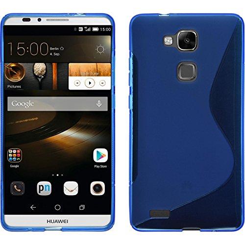 PhoneNatic Case für Huawei Ascend Mate 7 Hülle Silikon blau S-Style Cover Ascend Mate 7 Tasche + 2 Schutzfolien