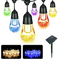 YWTESCH Outdoor Solar String Lights 5.3M 12pcs LED Light Bulbs 2 Mode of Warm White and Color Changing for Garden Decorations 16
