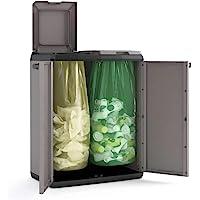 Keter Split Cabinet Recycling Basic Contenitore con Coperchio per la Raccolta Differenziata in Plastica, Grigio, Montato…