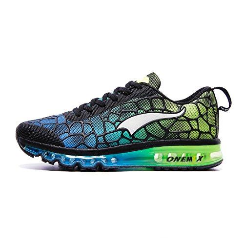 Onemix Mens Scarpe Da Corsa Cuscino Daria Scarpe Sportive Sneakers Facili Sneaker Di Buona Qualità Nero Rosso Verde Blu Cielo Blu / Verde