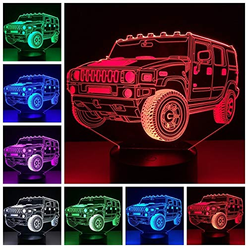 LED Night Light 3D-Vision-Seven Colors-Remote Control-Small Night Light Color Changing Table Lamp Decoración...
