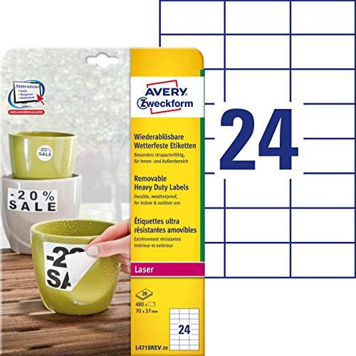 AVERY Zweckform L4718REV-20 Wetterfeste Folien-Etiketten, wiederablösbar (70x37 mm auf DIN A4, selbstklebend, bedruckbare Outdoor Klebefolie) 480 Aufkleber auf 20 Blatt weiß (Folie-etiketten)