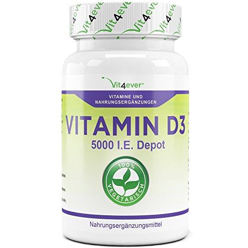 Vitamin D3 Depot 5000 I.E. - 500 Tabletten - 1000 I.E. pro Tag, Alle 5 Tage eine Tablette, Sonnenschein Vitamin D-3, Vegetarische Tabletten, Vit4ever