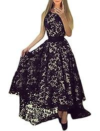 BOLAWOO Vestiti da Cerimonia Donna Eleganti Vintage Lungo Vestito Pizzo  Senza Maniche Rotondo Collo Alto Basso 282ee6dc1f2